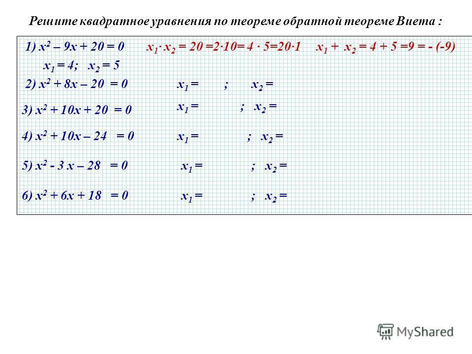 Решите квадратное уравнения по теореме обратной теореме Виета : 1) х 2 – 9х + 20 = 0 х 1 · х 2 = 20 =2·10= 4 · 5=20·1 х 1 + х 2 = 4 + 5 =9 = - (-9) 2) х 2 + 8х – 20 = 0 3) х 2 + 10х + 20 = 0 4) х 2 + 10х – 24 = 0 х 1 = 4; х 2 = 5 х 1 = ; х 2 = 5) х 2