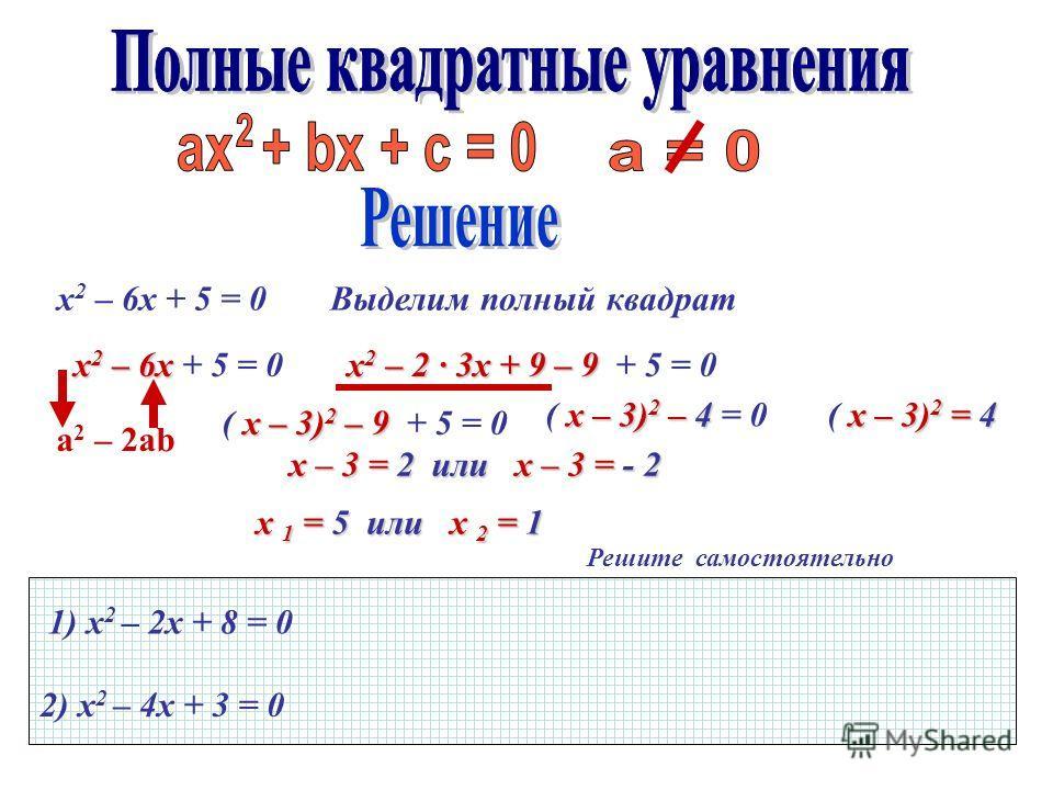 Решите самостоятельно 1) х 2 – 2х + 8 = 0 2) х 2 – 4х + 3 = 0 x 2 – 6х + 5 = 0 x 2 – 6х x 2 – 6х + 5 = 0 Выделим полный квадрат а 2 – 2ab x 2 – 2 3х + 9 – 9 x 2 – 2 3х + 9 – 9 + 5 = 0 x – 3) 2 – 9 ( x – 3) 2 – 9 + 5 = 0 x – 3) 2 – 4 ( x – 3) 2 – 4 =