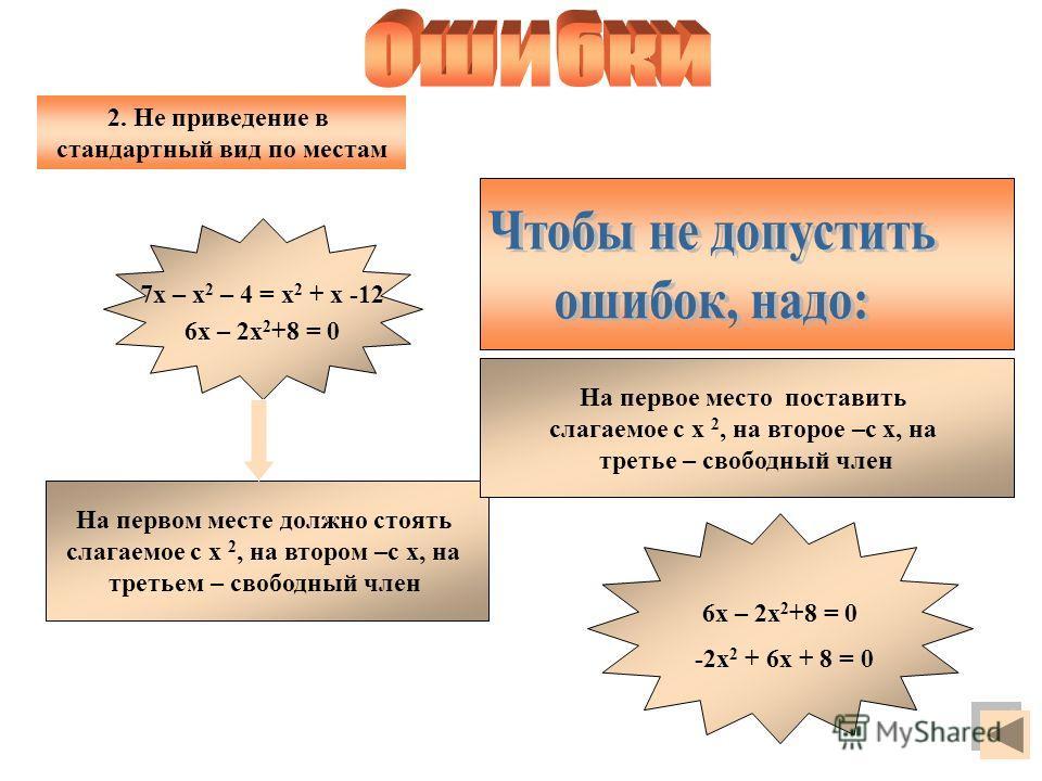 7х – х 2 – 4 = х 2 + х -12 6х – 2х 2 +8 = 0 На первом месте должно стоять слагаемое с х 2, на втором –с х, на третьем – свободный член На первое место поставить слагаемое с х 2, на второе –с х, на третье – свободный член -2х 2 + 6х + 8 = 0 2. Не прив