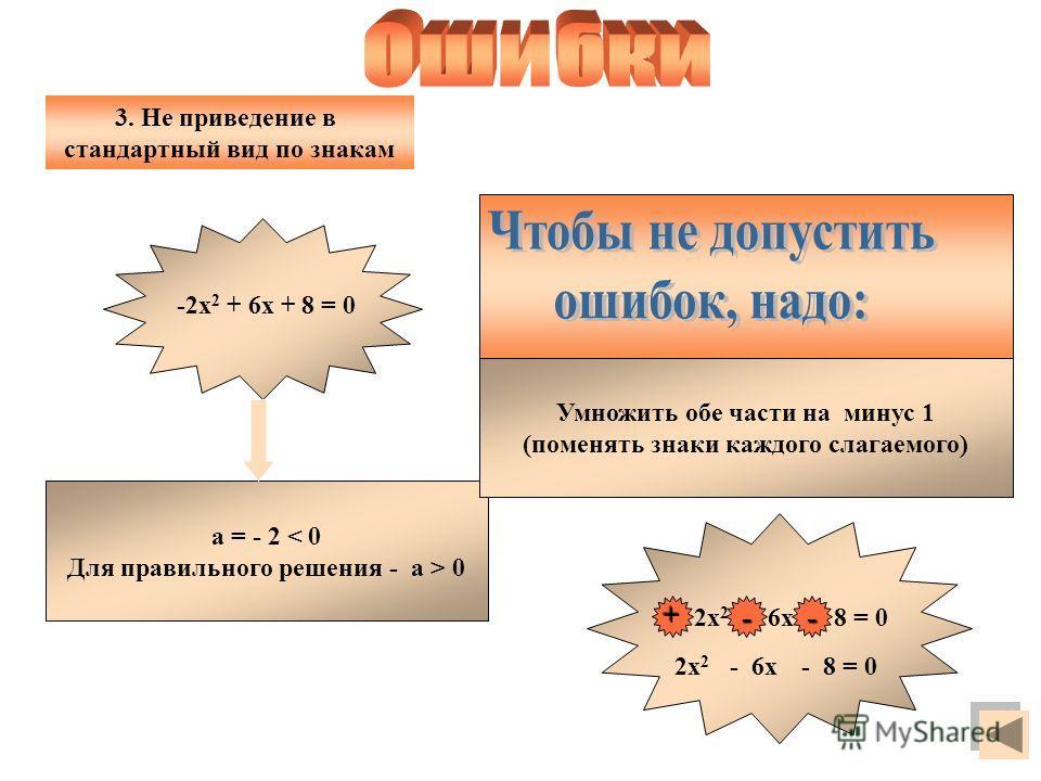 а = - 2 < 0 Для правильного решения - а > 0 Умножить обе части на минус 1 (поменять знаки каждого слагаемого) - 2х 2 + 6х + 8 = 0 3. Не приведение в стандартный вид по знакам -2х 2 + 6х + 8 = 0 + - 2х 2 - 8 = 0 - 6х -