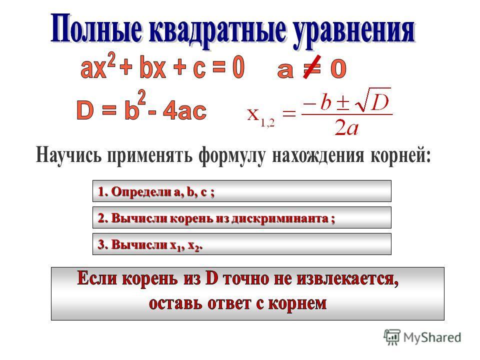 1. Определи a, b, c ; 2. Вычисли корень из дискриминанта ; 3. Вычисли х 1, х 2.