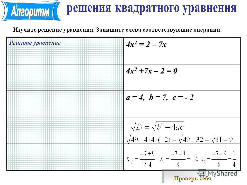 Решите уравнение 4х 2 = 2 – 7х 4х 2 +7х – 2 = 0 a = 4, b = 7, c = - 2 Изучите решение уравнения. Запишите слева соответствующие операции. Проверь себя