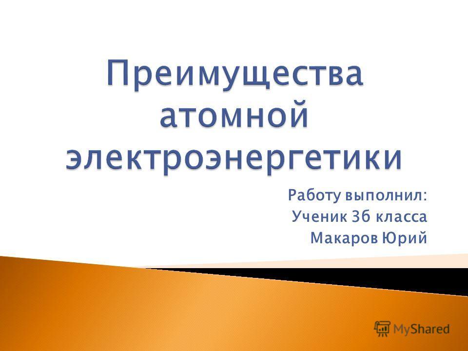 Работу выполнил: Ученик 3б класса Макаров Юрий