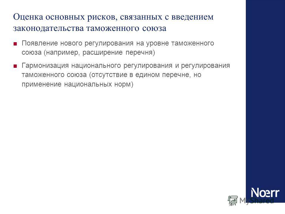 14 Оценка основных рисков, связанных с введением законодательства таможенного союза Появление нового регулирования на уровне таможенного союза (например, расширение перечня) Гармонизация национального регулирования и регулирования таможенного союза (