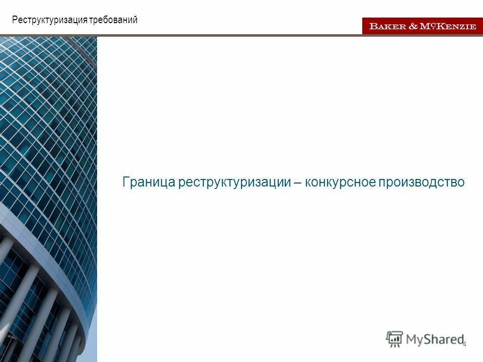 4 Реструктуризация требований Граница реструктуризации – конкурсное производство