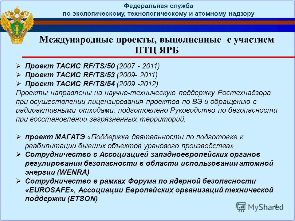 Международные проекты, выполненные с участием НТЦ ЯРБ Федеральная служба по экологическому, технологическому и атомному надзору 4 Проект ТАСИС RF/TS/50 (2007 - 2011) Проект ТАСИС RF/TS/53 (2009- 2011) Проект ТАСИС RF/TS/54 (2009 -2012) Проекты направ