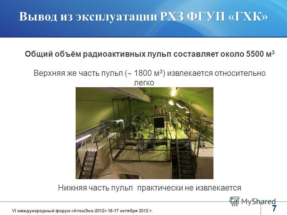 7 Общий объём радиоактивных пульп составляет около 5500 м 3 Верхняя же часть пульп ( 1800 м 3 ) извлекается относительно легко Нижняя часть пульп практически не извлекается VI международный форум «АтомЭко-2012» 16-17 октября 2012 г. Вывод из эксплуат