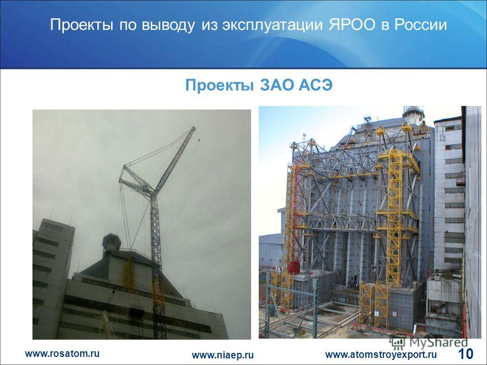 www.rosatom.ru Проекты по выводу из эксплуатации ЯРОО в России www.atomstroyexport.ru www.niaep.ru 10 Проекты ЗАО АСЭ
