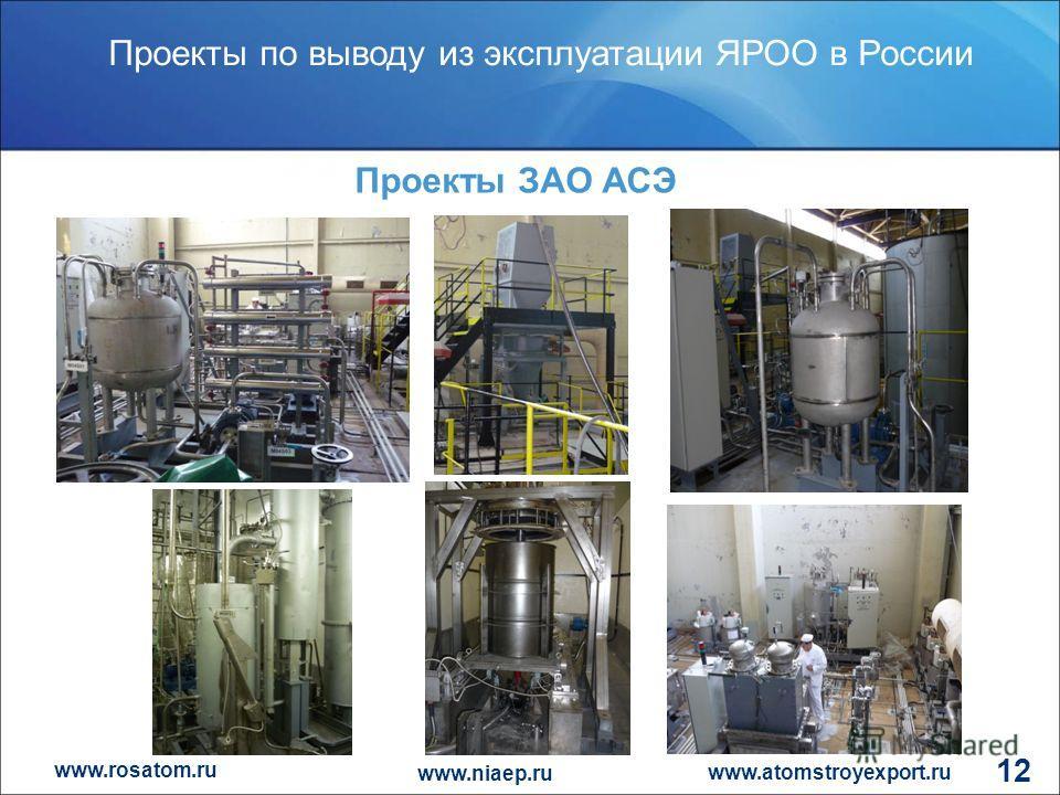 www.rosatom.ru Проекты по выводу из эксплуатации ЯРОО в России www.atomstroyexport.ru www.niaep.ru 12 Проекты ЗАО АСЭ
