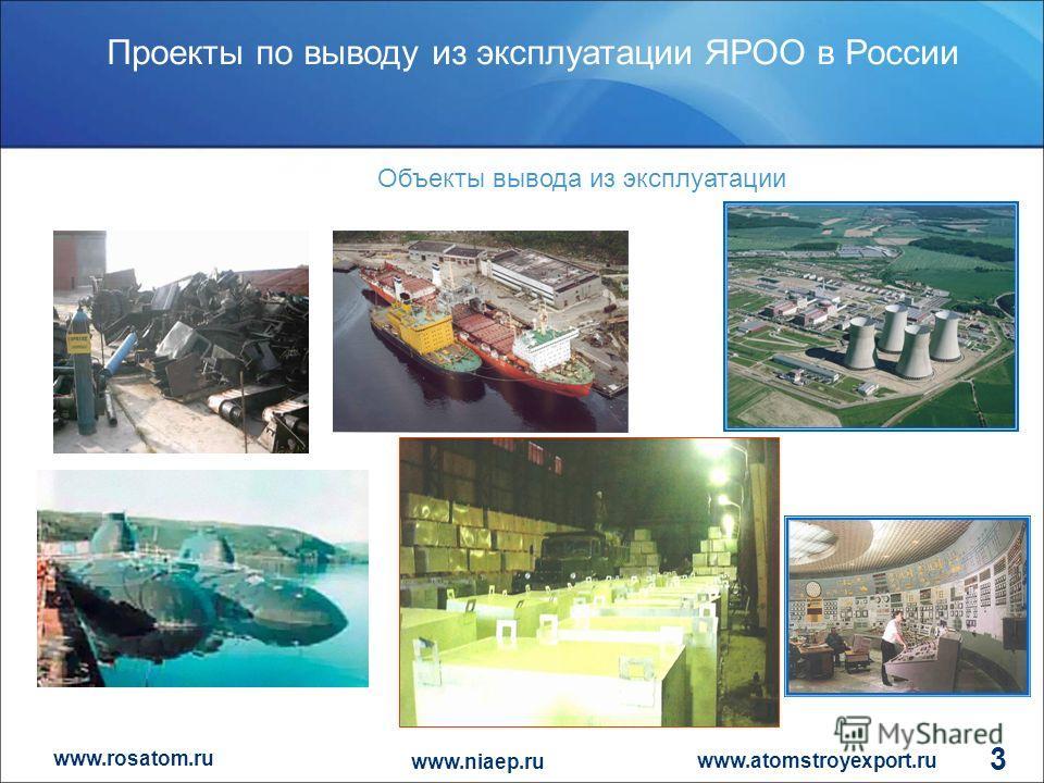 www.rosatom.ru Проекты по выводу из эксплуатации ЯРОО в России www.atomstroyexport.ru www.niaep.ru 3 Объекты вывода из эксплуатации