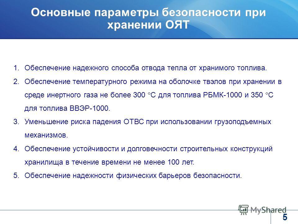 5 Основные параметры безопасности при хранении ОЯТ 1.Обеспечение надежного способа отвода тепла от хранимого топлива. 2.Обеспечение температурного режима на оболочке твэлов при хранении в среде инертного газа не более 300 С для топлива РБМК-1000 и 35