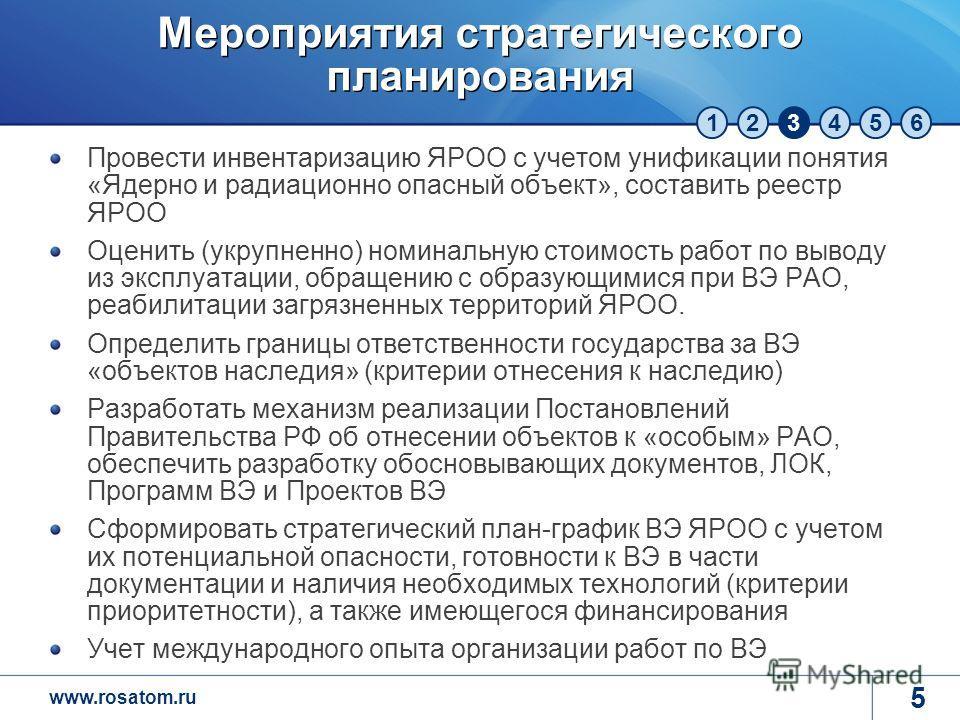 www.rosatom.ru 123456 Мероприятия стратегического планирования Провести инвентаризацию ЯРОО с учетом унификации понятия «Ядерно и радиационно опасный объект», составить реестр ЯРОО Оценить (укрупненно) номинальную стоимость работ по выводу из эксплуа