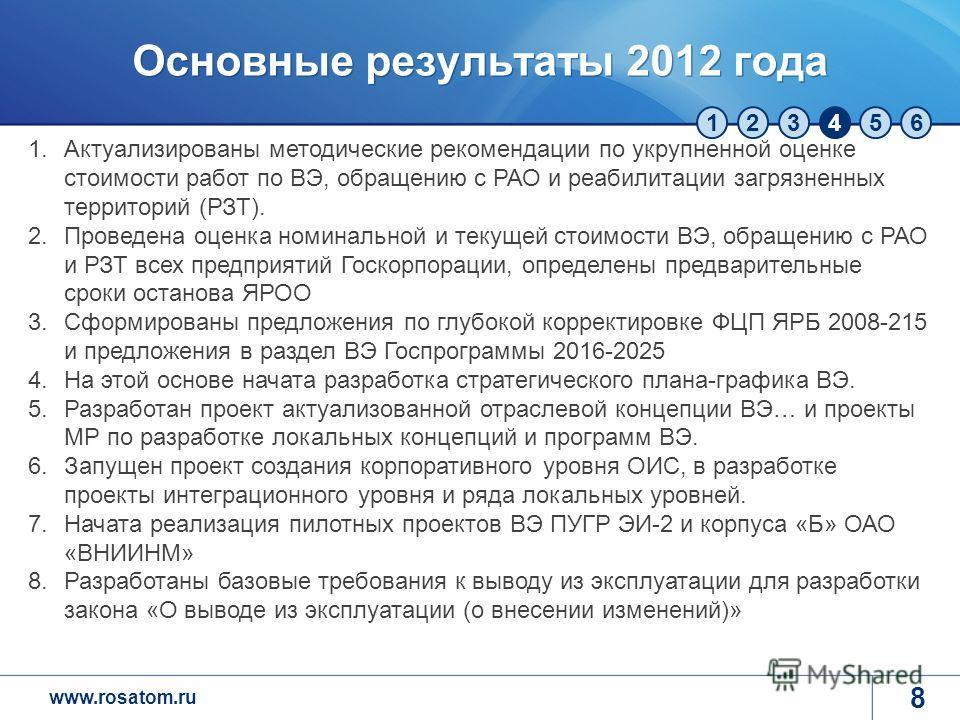 www.rosatom.ru 123456 Основные результаты 2012 года 8 1.Актуализированы методические рекомендации по укрупненной оценке стоимости работ по ВЭ, обращению с РАО и реабилитации загрязненных территорий (РЗТ). 2.Проведена оценка номинальной и текущей стои