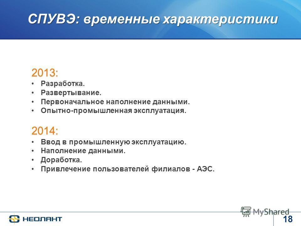 18 СПУВЭ: временные характеристики СПУВЭ: временные характеристики 2013: Разработка. Развертывание. Первоначальное наполнение данными. Опытно-промышленная эксплуатация. 2014: Ввод в промышленную эксплуатацию. Наполнение данными. Доработка. Привлечени