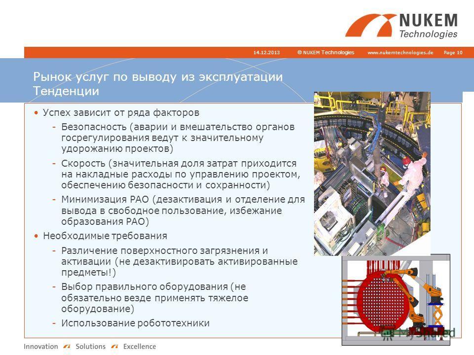 www.nukemtechnologies.de © NUKEM Technologies 14.12.2013Page 10 Рынок услуг по выводу из эксплуатации Тенденции Успех зависит от ряда факторов -Безопасность (аварии и вмешательство органов госрегулирования ведут к значительному удорожанию проектов) -