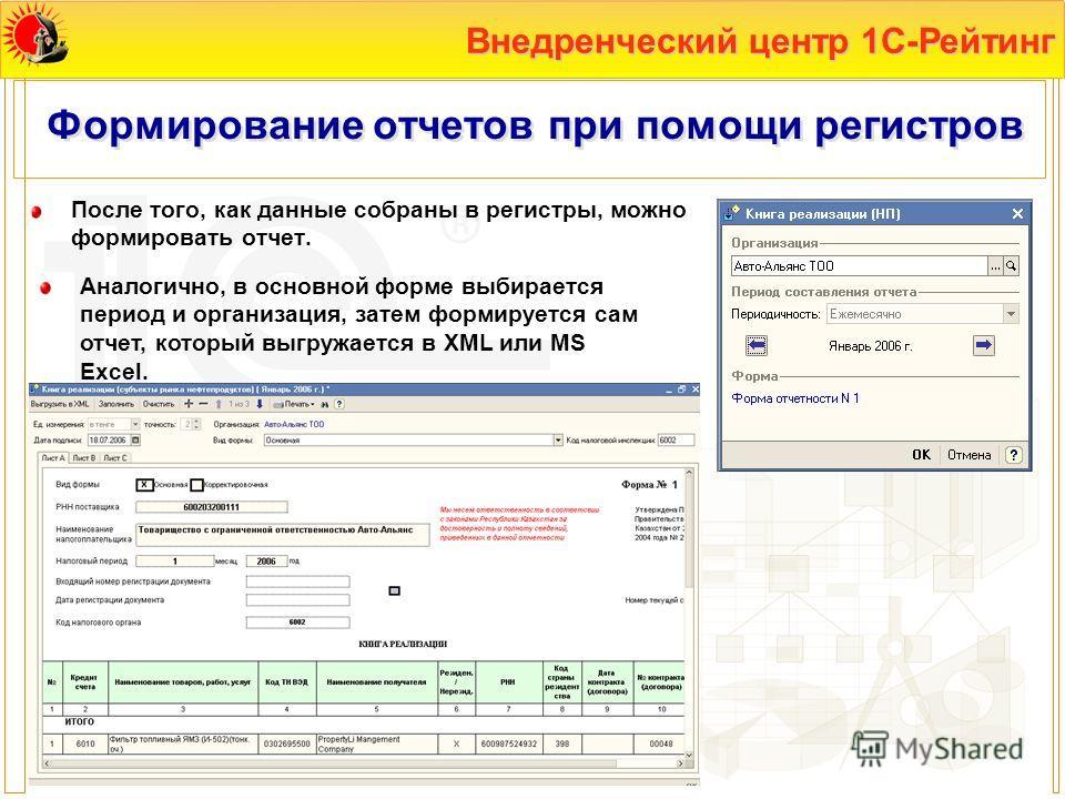 Внедренческий центр 1С-Рейтинг Формирование отчетов при помощи регистров После того, как данные собраны в регистры, можно формировать отчет. Аналогично, в основной форме выбирается период и организация, затем формируется сам отчет, который выгружаетс