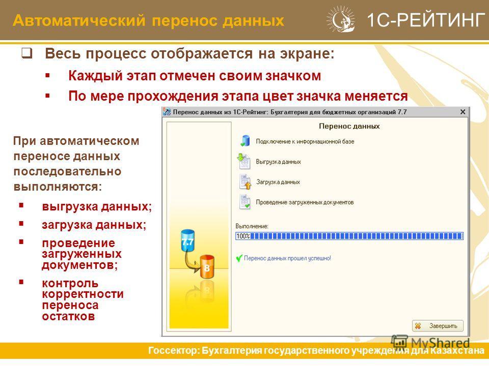 Автоматический перенос данных Госсектор: Бухгалтерия государственного учреждения для Казахстана 1С-РЕЙТИНГ Весь процесс отображается на экране: Каждый этап отмечен своим значком По мере прохождения этапа цвет значка меняется При автоматическом перено