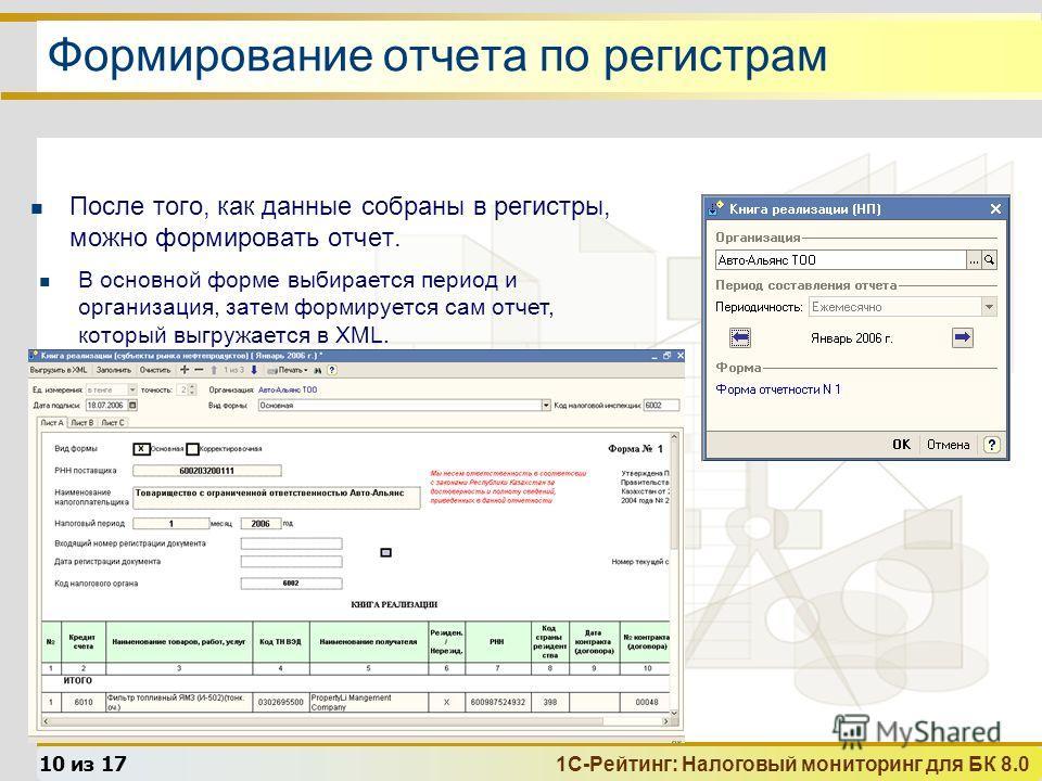 1С-Рейтинг: Налоговый мониторинг для БК 8.0 10 из 17 Формирование отчета по регистрам После того, как данные собраны в регистры, можно формировать отчет. В основной форме выбирается период и организация, затем формируется сам отчет, который выгружает