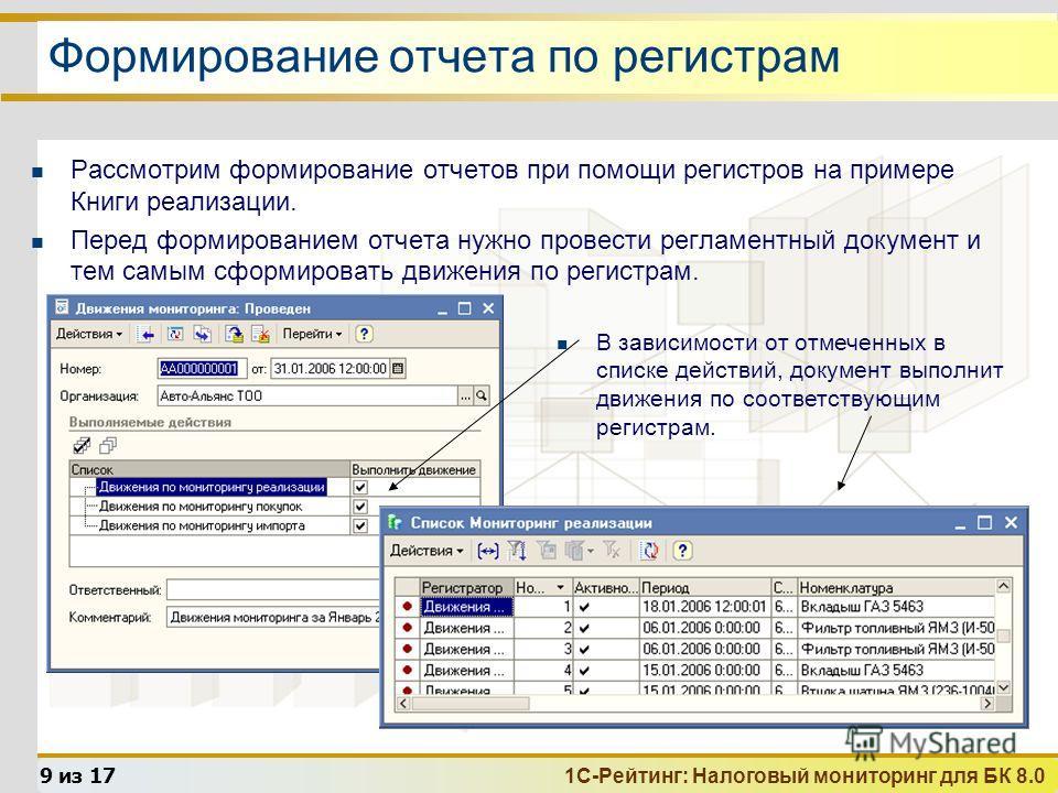 1С-Рейтинг: Налоговый мониторинг для БК 8.0 9 из 17 Формирование отчета по регистрам Рассмотрим формирование отчетов при помощи регистров на примере Книги реализации. Перед формированием отчета нужно провести регламентный документ и тем самым сформир