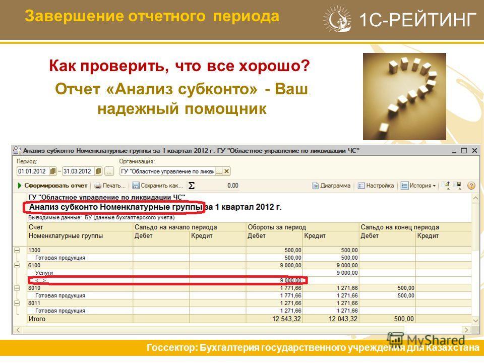 1С-РЕЙТИНГ Как проверить, что все хорошо? Отчет «Анализ субконто» - Ваш надежный помощник Завершение отчетного периода Госсектор: Бухгалтерия государственного учреждения для Казахстана