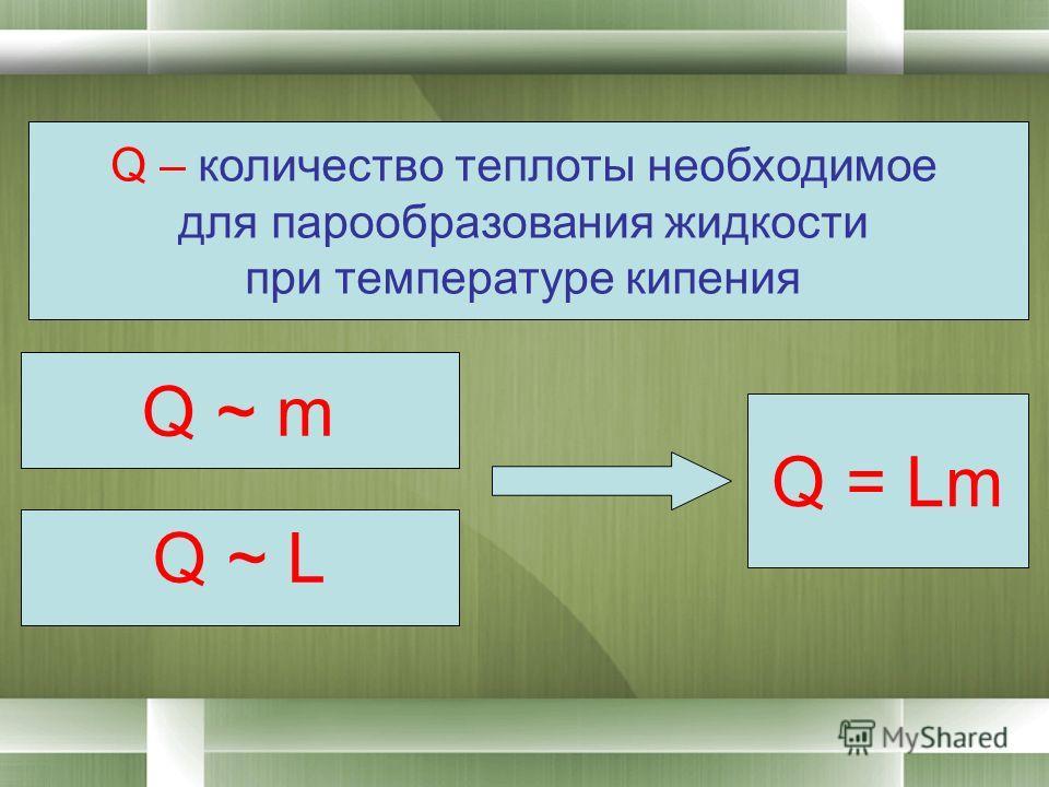 Q ~ m Q ~ L Q = Lm Q – количество теплоты необходимое для парообразования жидкости при температуре кипения