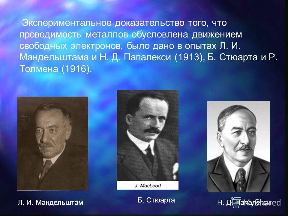 Экспериментальное доказательство того, что проводимость металлов обусловлена движением свободных электронов, было дано в опытах Л. И. Мандельштама и Н. Д. Папалекси (1913), Б. Стюарта и Р. Толмена (1916). Л. И. Мандельштам Б. Стюарта Н. Д. Папалекси