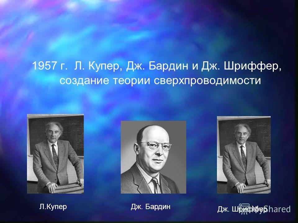 1957 г. Л. Купер, Дж. Бардин и Дж. Шриффер, создание теории сверхпроводимости Л.КуперДж. Бардин Дж. Шриффер