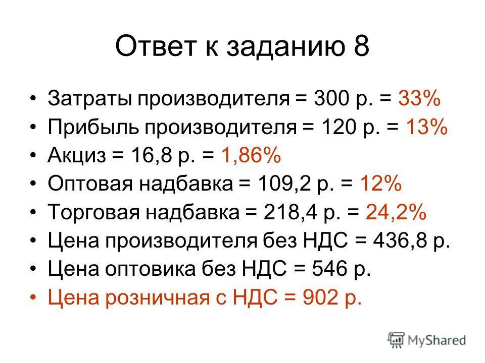 Ответ к заданию 8 Затраты производителя = 300 р. = 33% Прибыль производителя = 120 р. = 13% Акциз = 16,8 р. = 1,86% Оптовая надбавка = 109,2 р. = 12% Торговая надбавка = 218,4 р. = 24,2% Цена производителя без НДС = 436,8 р. Цена оптовика без НДС = 5