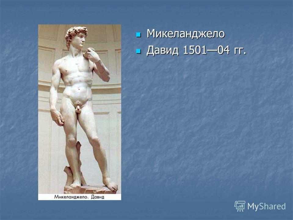 Микеланджело Микеланджело Давид 150104 гг. Давид 150104 гг.