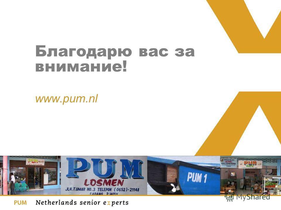 Благодарю вас за внимание! www.pum.nl