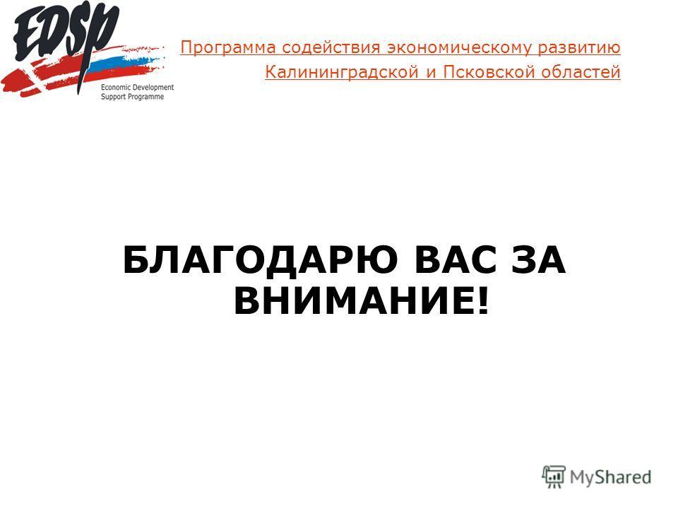 Программа содействия экономическому развитию Калининградской и Псковской областей БЛАГОДАРЮ ВАС ЗА ВНИМАНИЕ!
