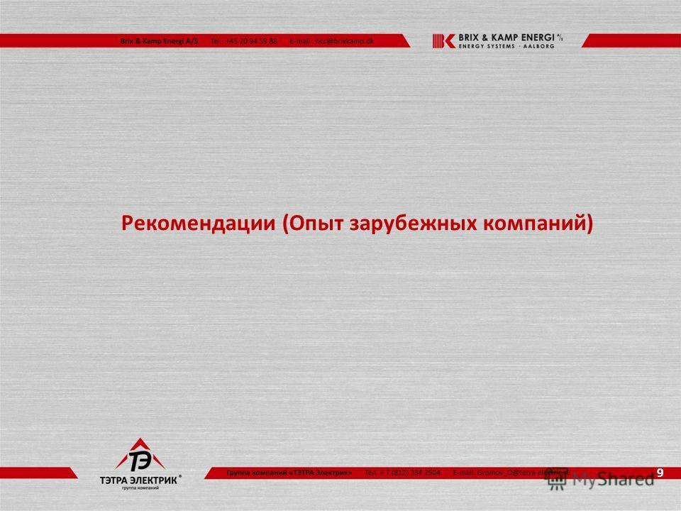 Рекомендации (Опыт зарубежных компаний) 9