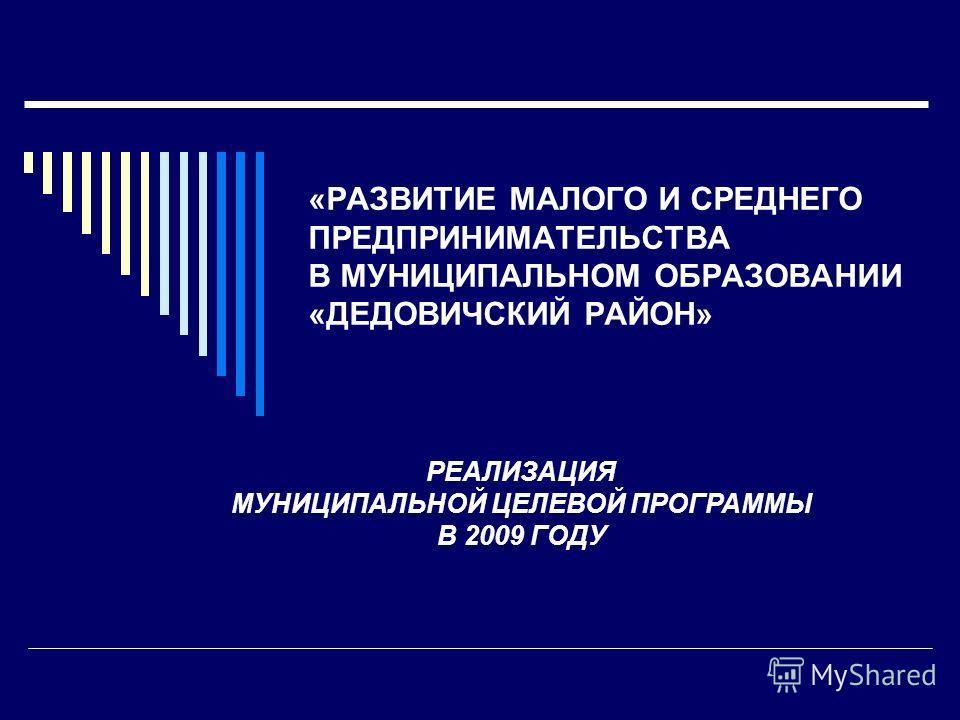 «РАЗВИТИЕ МАЛОГО И СРЕДНЕГО ПРЕДПРИНИМАТЕЛЬСТВА В МУНИЦИПАЛЬНОМ ОБРАЗОВАНИИ «ДЕДОВИЧСКИЙ РАЙОН» РЕАЛИЗАЦИЯ МУНИЦИПАЛЬНОЙ ЦЕЛЕВОЙ ПРОГРАММЫ В 2009 ГОДУ