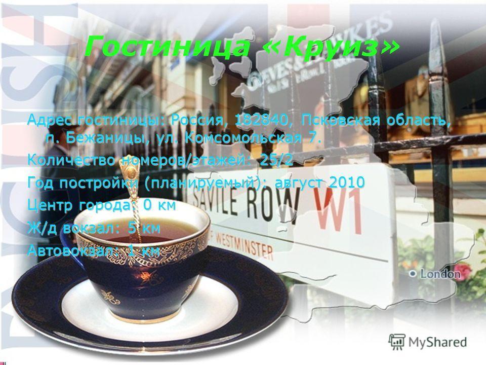 Адрес гостиницы: Россия, 182840, Псковская область, п. Бежаницы, ул. Комсомольская 7. Количество номеров/этажей: 25/2 Год постройки (планируемый): август 2010 Центр города: 0 км Ж/д вокзал: 5 км Автовокзал: 1 км