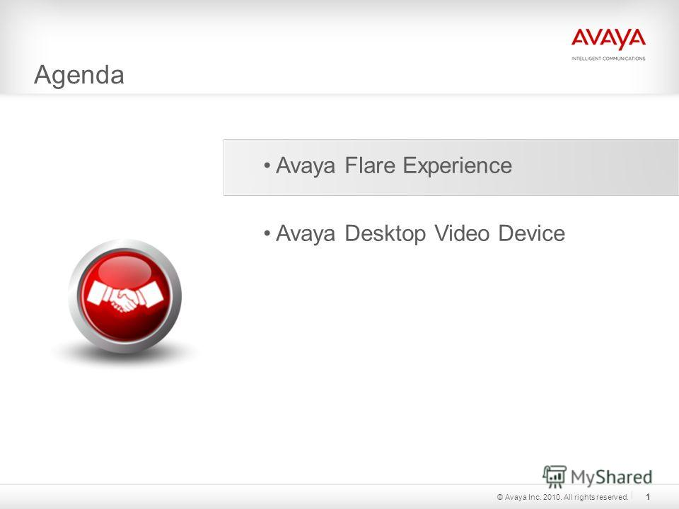 Agenda © Avaya Inc. 2010. All rights reserved. 1 Avaya Flare Experience Avaya Desktop Video Device