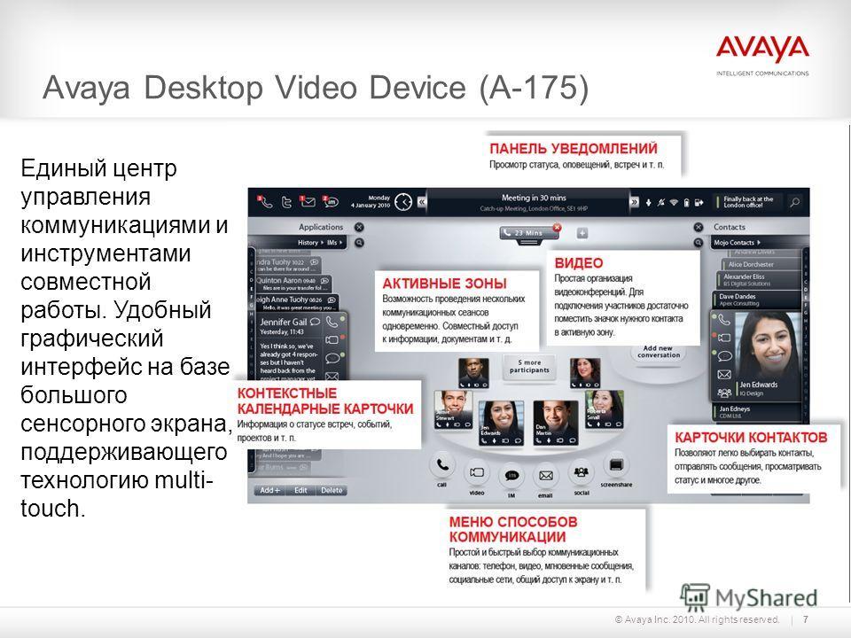 7© Avaya Inc. 2010. All rights reserved. Avaya Desktop Video Device (A-175) Единый центр управления коммуникациями и инструментами совместной работы. Удобный графический интерфейс на базе большого сенсорного экрана, поддерживающего технологию multi-