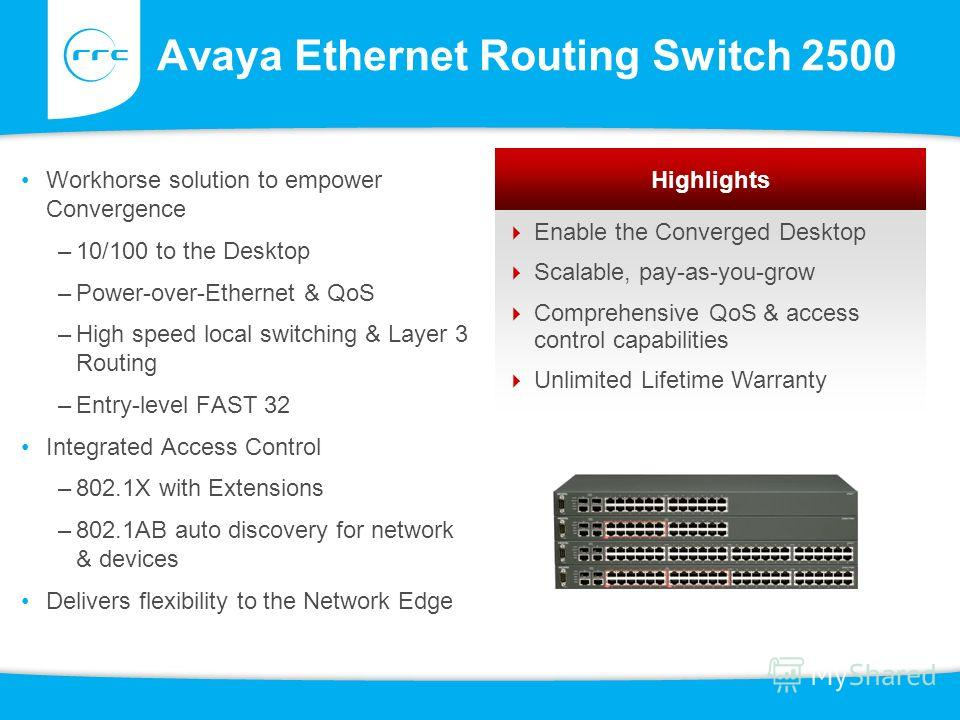 Avaya Ethernet Routing Switch 2500 Workhorse solution to empower Convergence –10/100 to the Desktop –Power-over-Ethernet & QoS –High speed local switching & Layer 3 Routing –Entry-level FAST 32 Integrated Access Control –802.1X with Extensions –802.1