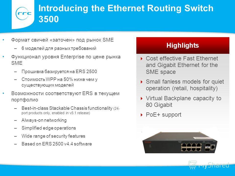 Introducing the Ethernet Routing Switch 3500 Формат свичей «заточен» под рынок SME –6 моделей для разных требований Функционал уровня Enterprise по цене рынка SME –Прошивка базируется на ERS 2500 –Стоимость WPP на 50% ниже чем у существующих моделей