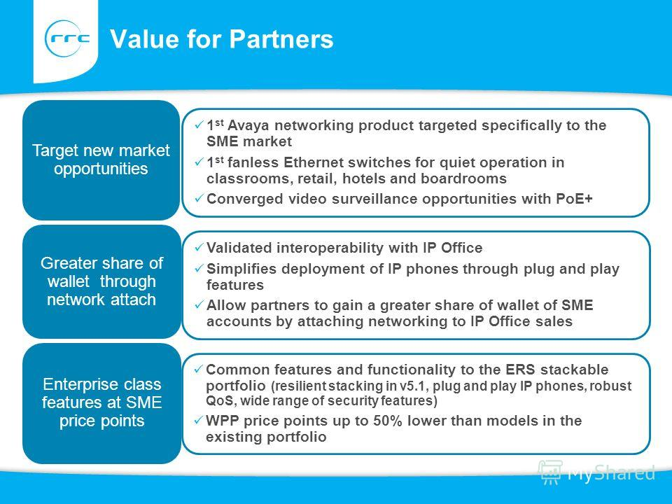 Value for Partners Target new market opportunities Greater share of wallet through network attach Enterprise class features at SME price points Common features and functionality to the ERS stackable portfolio (resilient stacking in v5.1, plug and pla