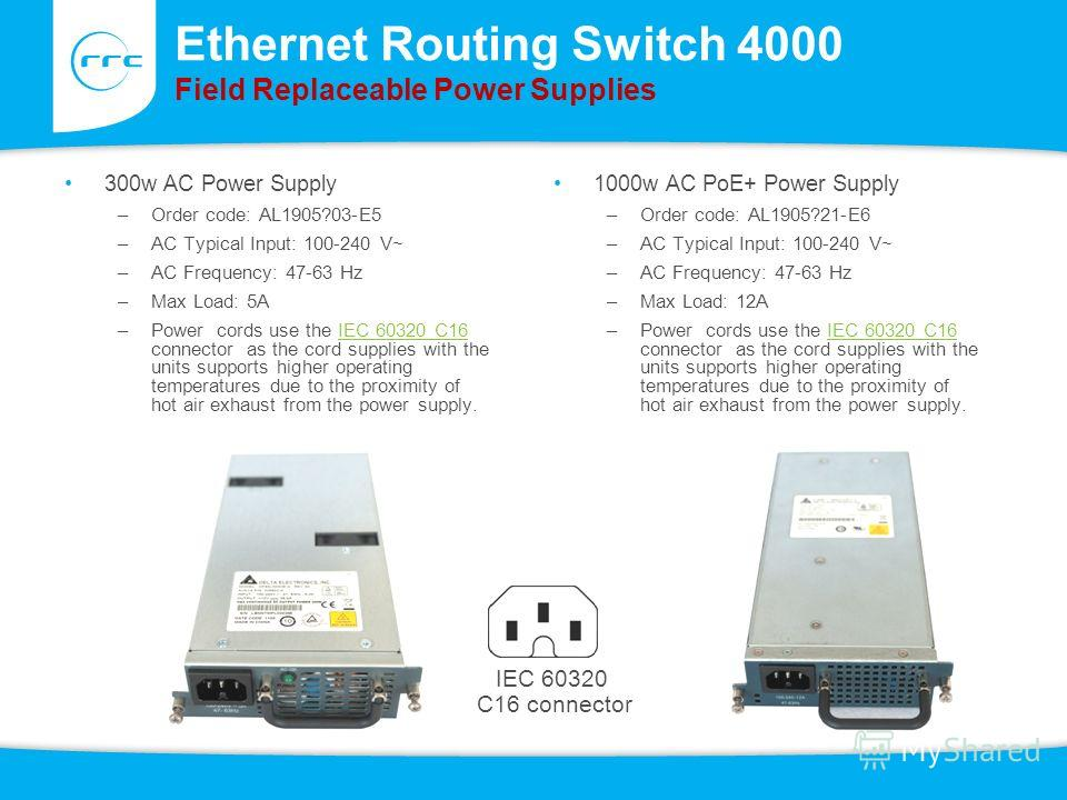 Ethernet Routing Switch 4000 Field Replaceable Power Supplies 300w AC Power Supply –Order code: AL1905?03-E5 –AC Typical Input: 100-240 V~ –AC Frequency: 47-63 Hz –Max Load: 5A –Power cords use the IEC 60320 C16 connector as the cord supplies with th