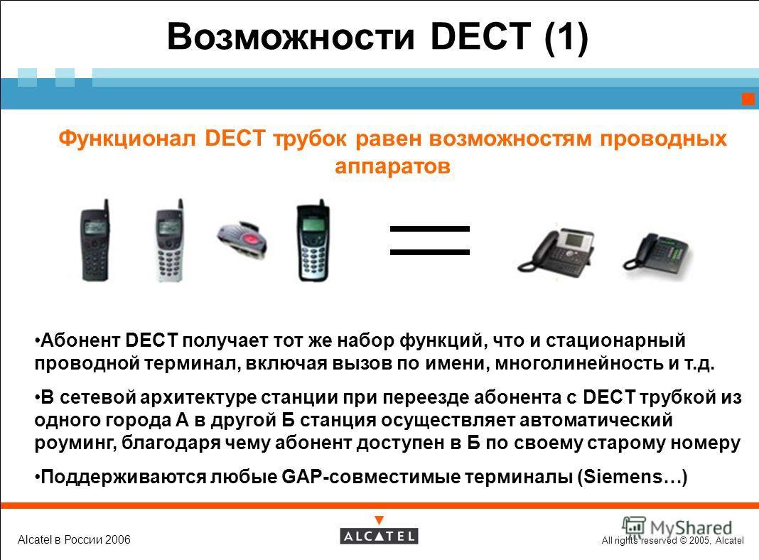 All rights reserved © 2005, Alcatel Alcatel в России 2006 Возможности DECT (1) Функционал DECT трубок равен возможностям проводных аппаратов Абонент DECT получает тот же набор функций, что и стационарный проводной терминал, включая вызов по имени, мн