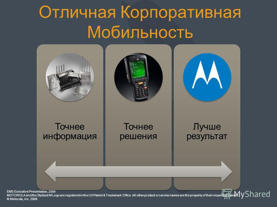 EMS Executive Presentation, 2009 MOTOROLA and the Stylized M Logo are registered in the US Patent & Trademark Office. All other product or service names are the property of their respective owners. © Motorola, Inc. 2009 Точнее информация Точнее решен