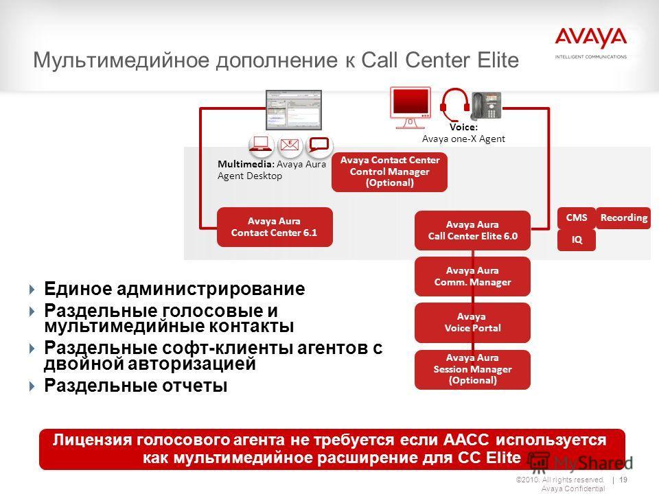 ©2010. All rights reserved. Avaya Confidential 19 Мультимедийное дополнение к Call Center Elite Лицензия голосового агента не требуется если ААСС используется как мультимедийное расширение для CC Elite Avaya Aura Call Center Elite 6.0 Avaya Aura Comm