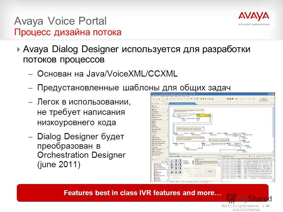 ©2010. All rights reserved. Avaya Confidential 26 Avaya Voice Portal Процесс дизайна потока Avaya Dialog Designer используется для разработки потоков процессов – Основан на Java/VoiceXML/CCXML – Предустановленные шаблоны для общих задач – Легок в исп