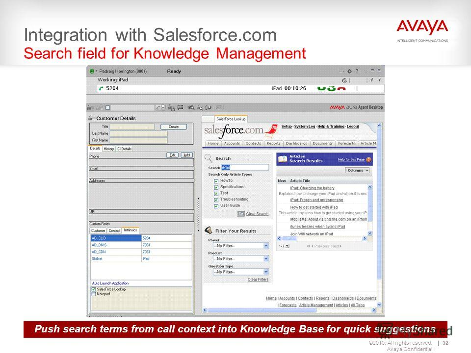 ©2010. All rights reserved. Avaya Confidential 32 Integration with Salesforce.com Search field for Knowledge Management Push search terms from call context into Knowledge Base for quick suggestions
