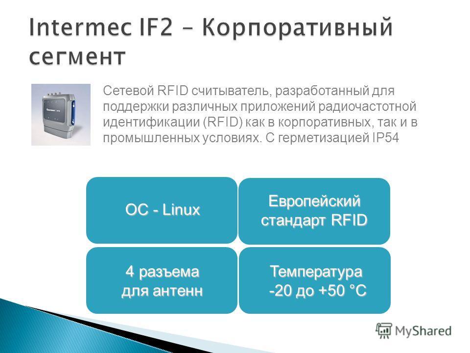 Сетевой RFID считыватель, разработанный для поддержки различных приложений радиочастотной идентификации (RFID) как в корпоративных, так и в промышленных условиях. C герметизацией IP54 4 разъема для антенн Европейский стандарт RFID ОС - Linux Температ
