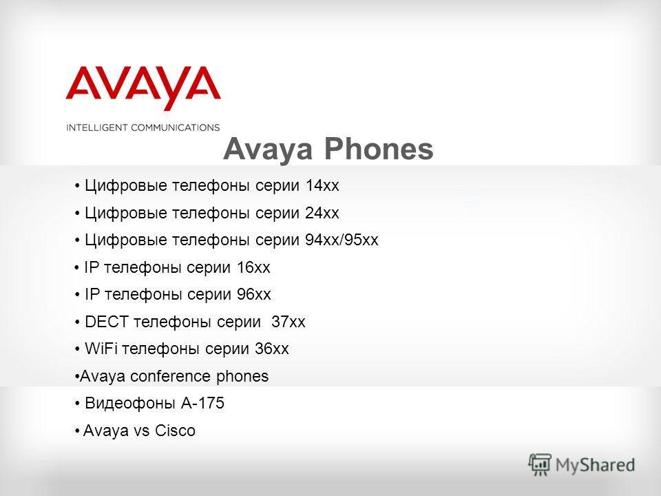 Avaya Phones Цифровые телефоны серии 14хх Цифровые телефоны серии 24хх Цифровые телефоны серии 94хх/95xx IP телефоны серии 16хх IP телефоны серии 96хх DECT телефоны серии 37хх WiFi телефоны серии 36хх Avaya conference phones Видеофоны А-175 Avaya vs