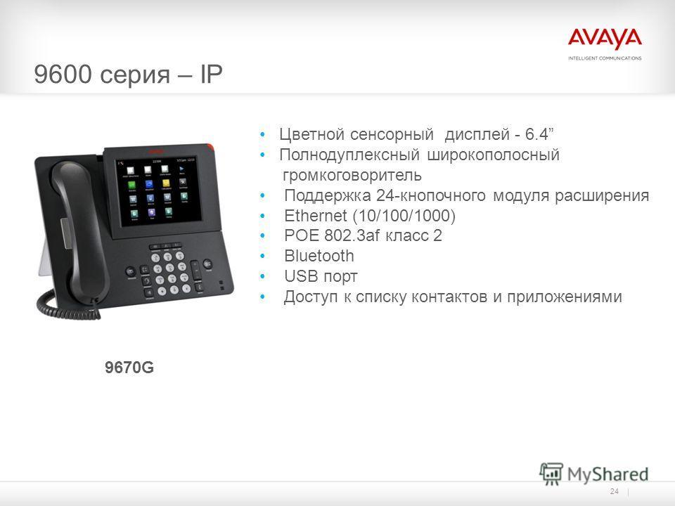 9600 серия – IP 24 9670G Цветной сенсорный дисплей - 6.4 Полнодуплексный широкополосный громкоговоритель Поддержка 24-кнопочного модуля расширения Ethernet (10/100/1000) POE 802.3af класс 2 Bluetooth USB порт Доступ к списку контактов и приложениями