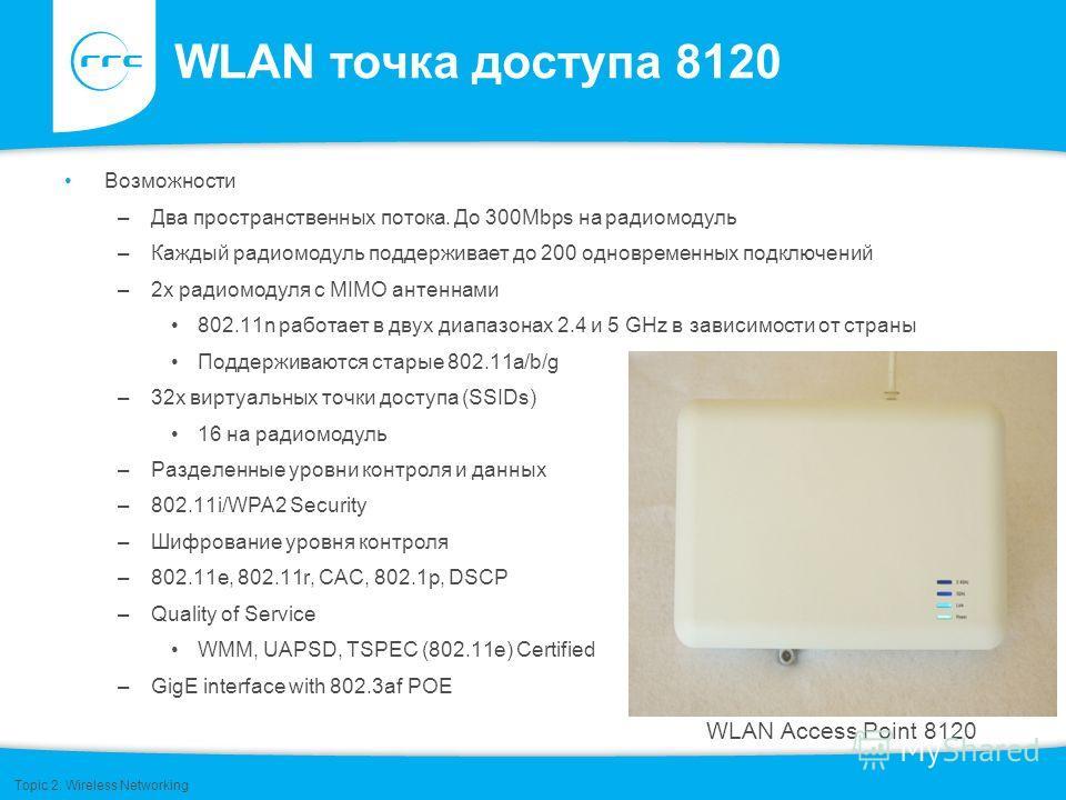 WLAN точка доступа 8120 Возможности –Два пространственных потока. До 300Mbps на радиомодуль –Каждый радиомодуль поддерживает до 200 одновременных подключений –2x радиомодуля с MIMO антеннами 802.11n работает в двух диапазонах 2.4 и 5 GHz в зависимост