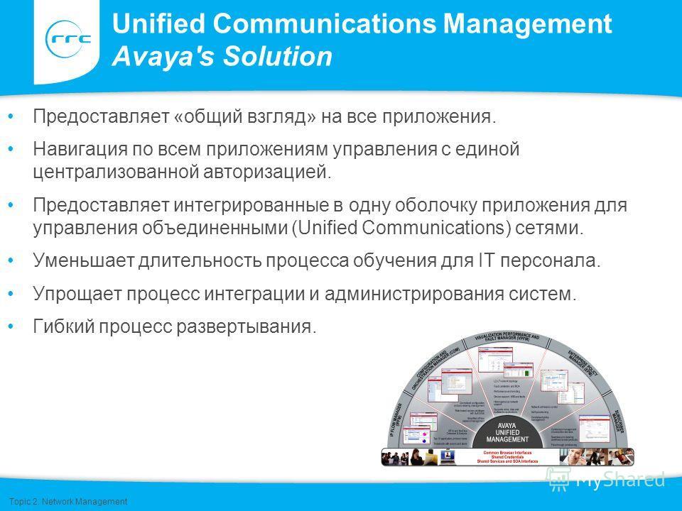 Unified Communications Management Avaya's Solution Предоставляет «общий взгляд» на все приложения. Навигация по всем приложениям управления с единой централизованной авторизацией. Предоставляет интегрированные в одну оболочку приложения для управлени
